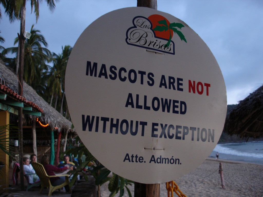 "Sign that says ""Mascots are not allowed without exception"""