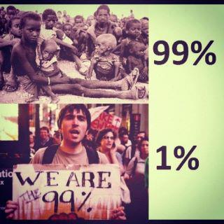 "Pic comparing the ""99%"" to starving African children"