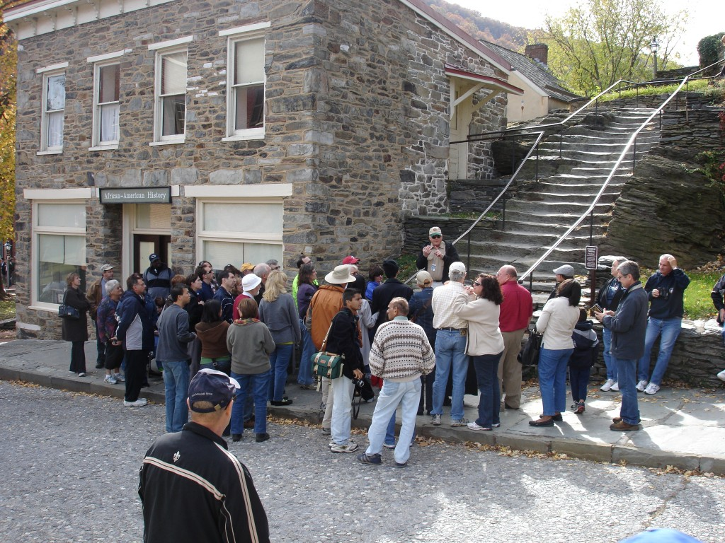 Tour gathered outside African American history museum at Harper's Ferry WV