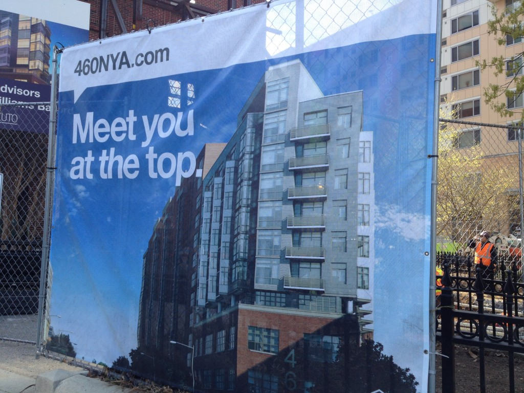 "Sign for New DC construction ""Meet you at the top"""