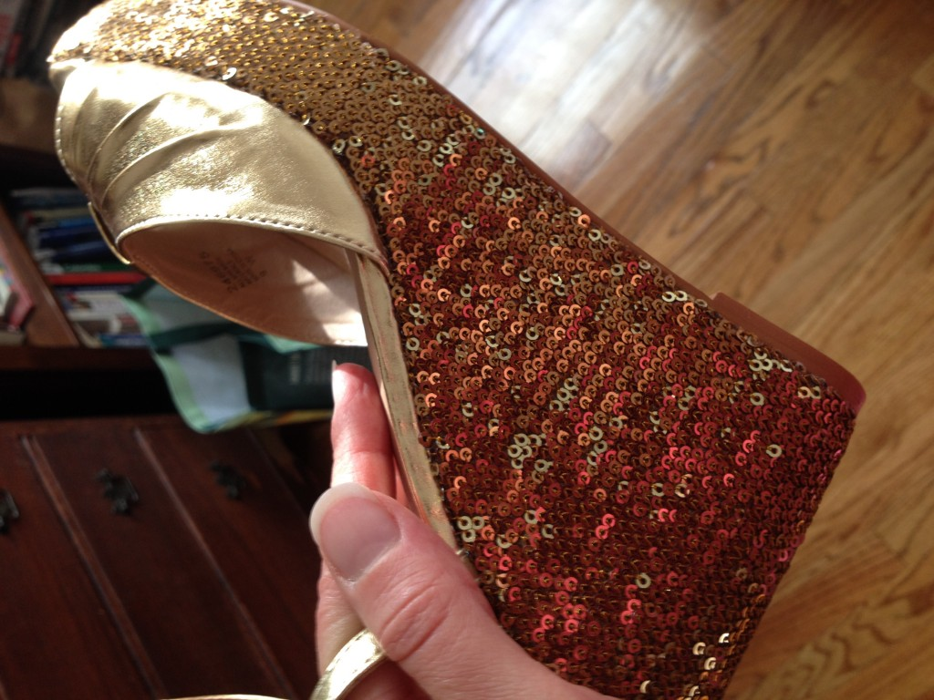 Gold sequin disco shoes
